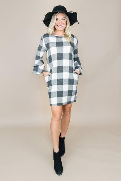 Ruffle Checkered Dress
