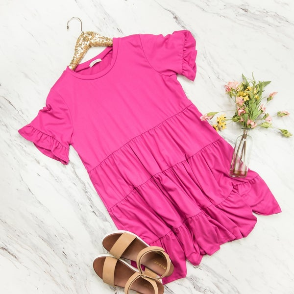 Casual Pink Tier Dress