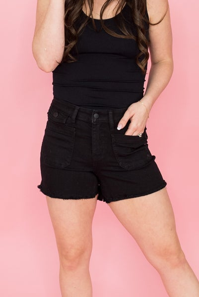 Judy Blue Black Fringed Denim Shorts
