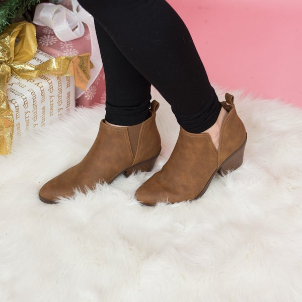 Dark Brown Slip On Booties