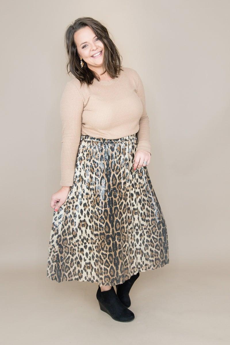 Sequin Leopard Skirt *all sales final*