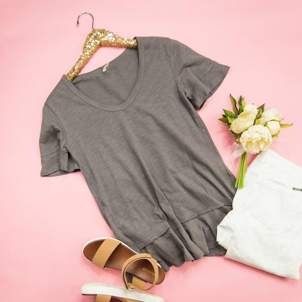 Gray Ruffle Shirt *all sales final*