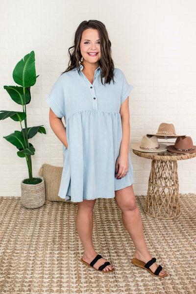 Chambray Denim Button Dress