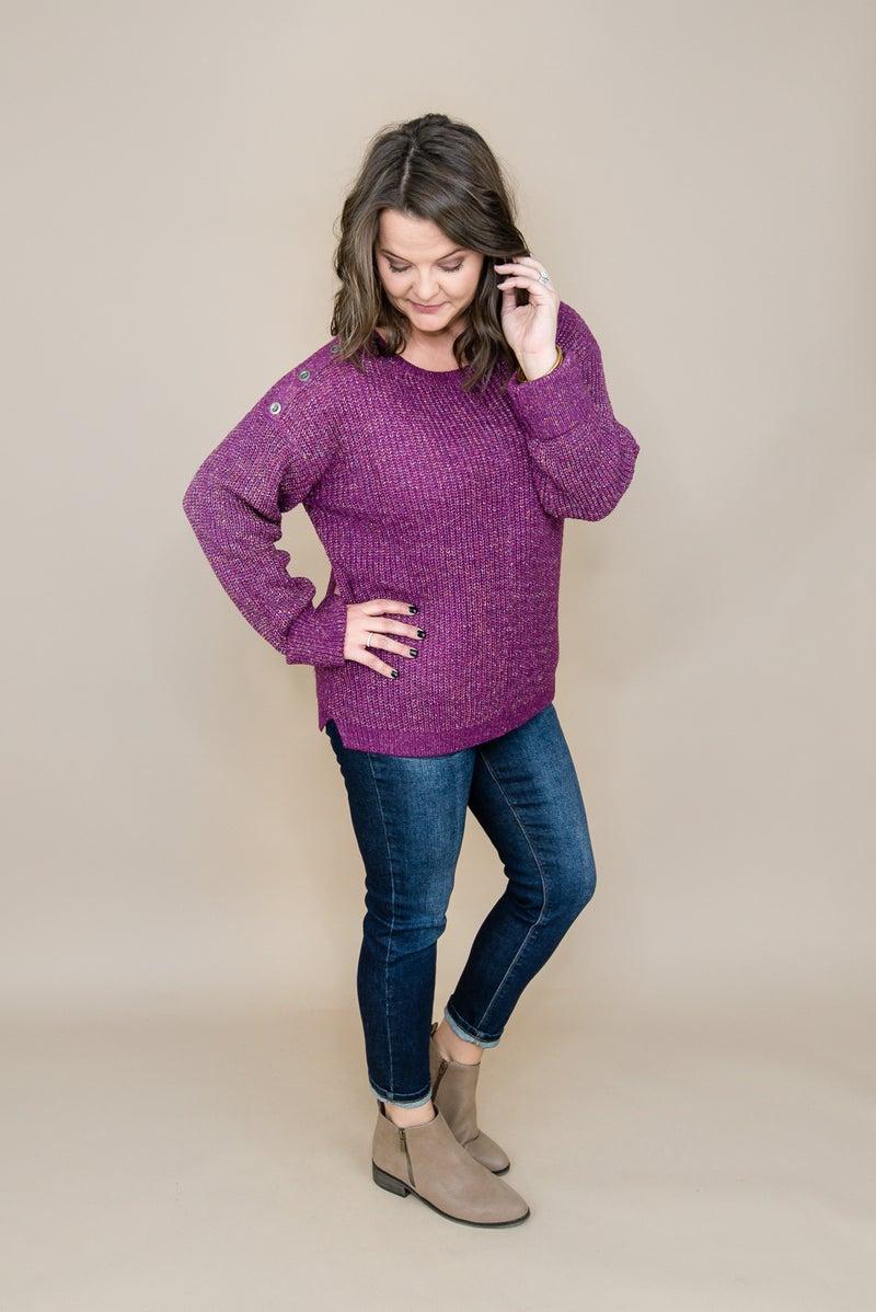 Plum Button Sweater