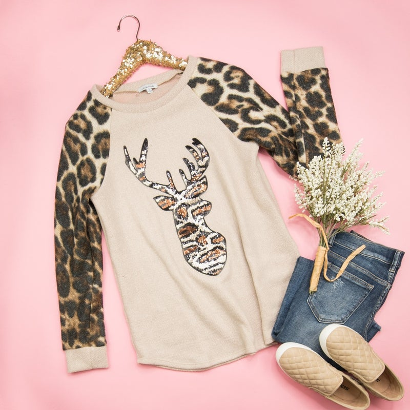 Oh Deer, Leopard Top *ALL SALES FINAL*
