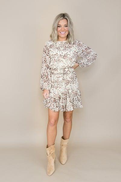 Mocha Spotty Ruffle Dress