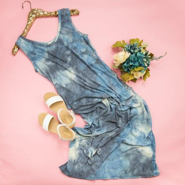 Marbled Blue Midi Dress