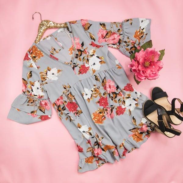 Gray Floral Flutter Dress