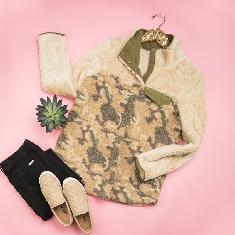 Camo Teddy Pullover *ALL SALES FINAL*
