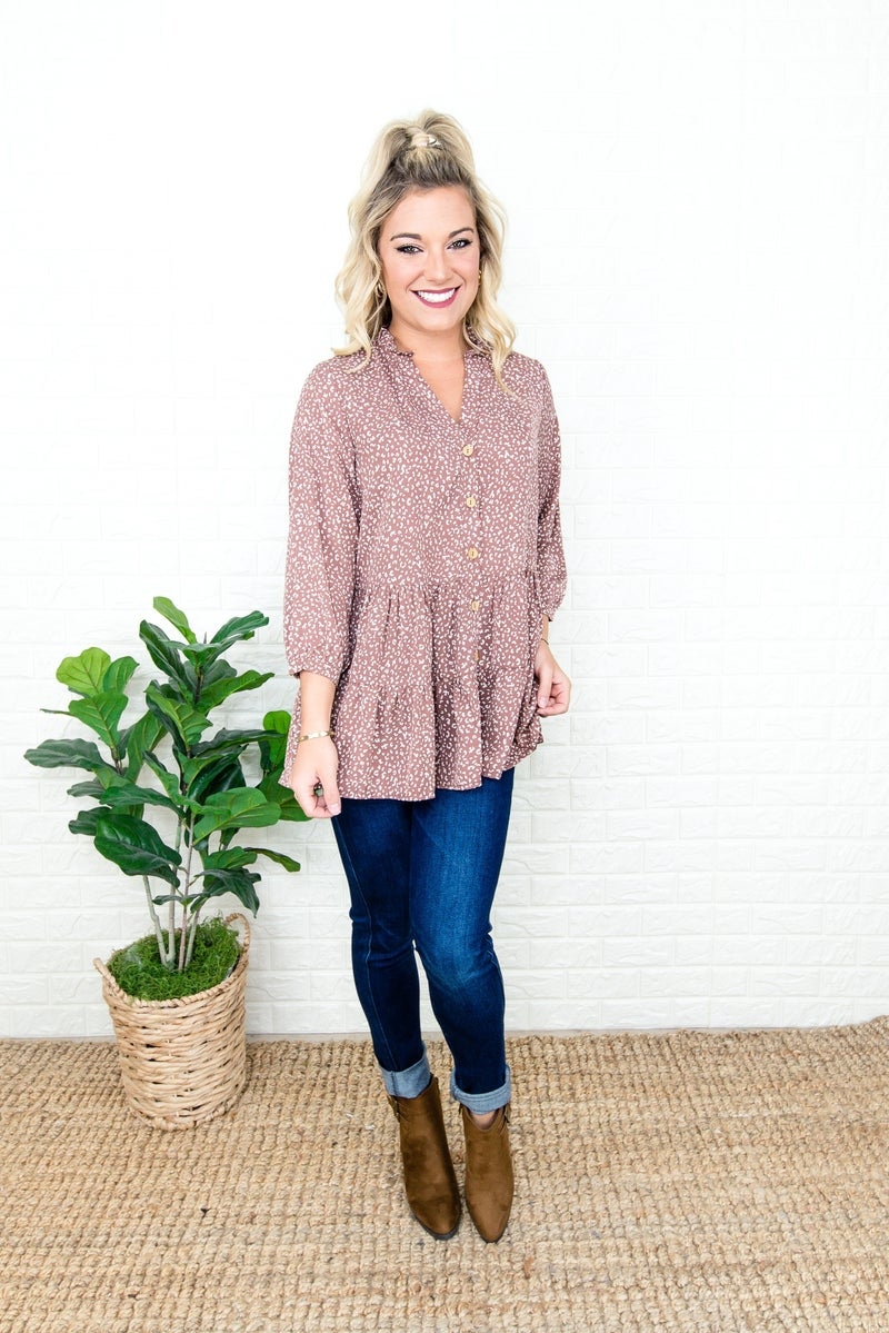 Speckled Button Blouse