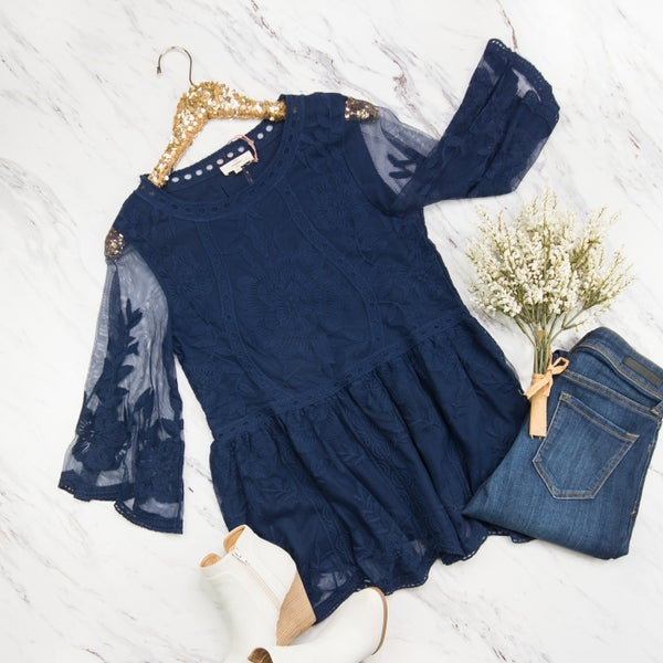 Navy Detailed Blouse *all sales final*