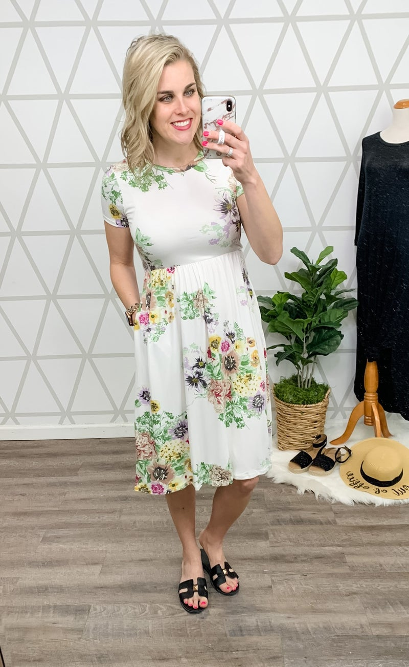 Floral Ivory Dress *ALL SALES FINAL*