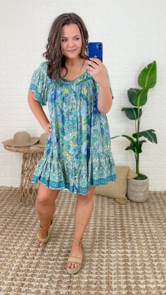 Blue Floral Boho Dress