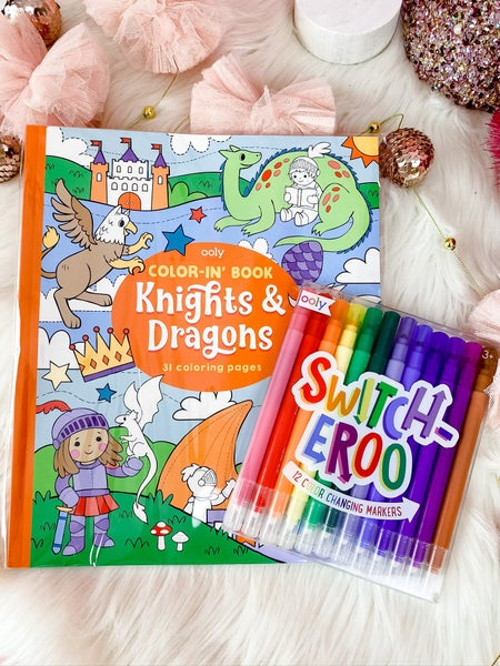 Ooly Knights and Dragons Coloring Book Set