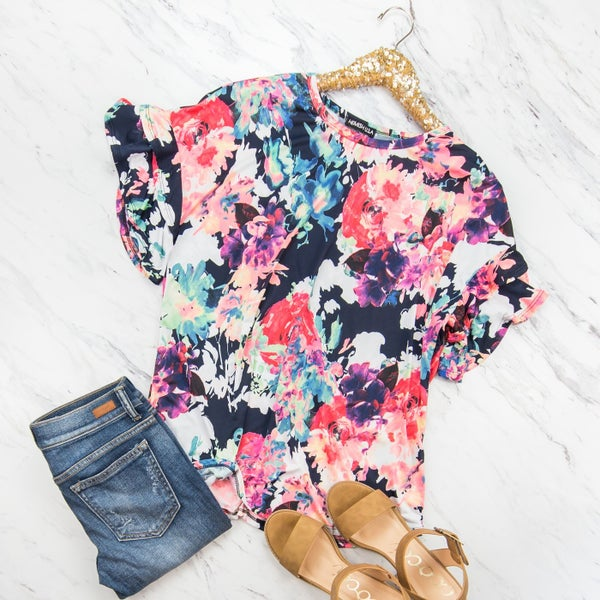 Rich Floral Blouse *all sales final*
