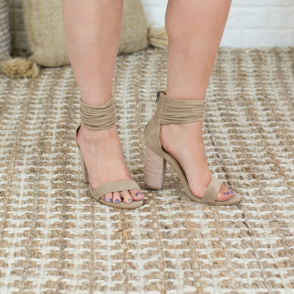 Wrap Around Suede Block Heels