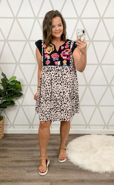 Leopard Embroidery Dress