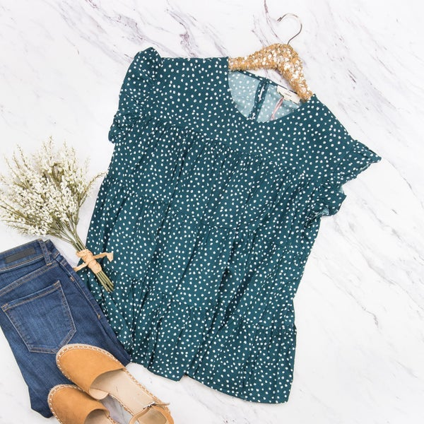 Green Ruffle Dot Blouse