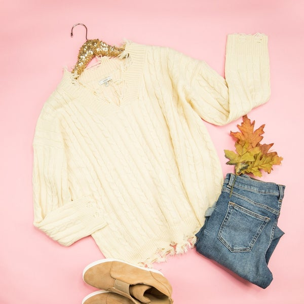 Ivory Distressed Sweater *all sales final*