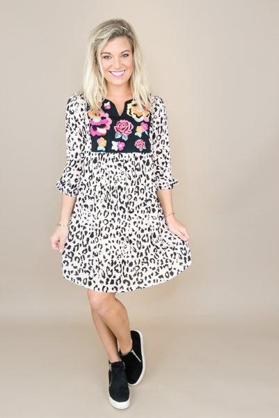 Savanna Leopard + Embroidered Dress *all sales final*