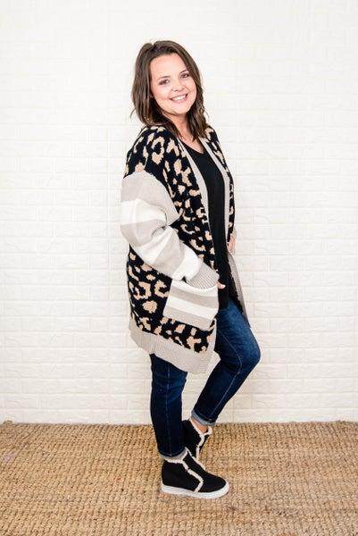 Seasonal Black Leopard Cardigan