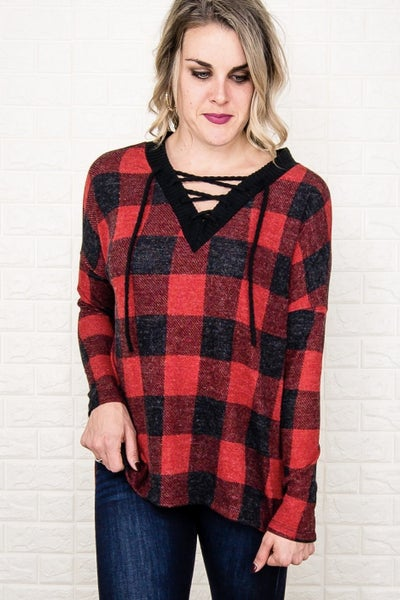 Cross Over Buffalo Plaid Top *all sales final*