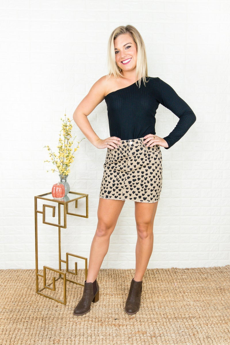 Spotty Dot Taupe Skirt *ALL SALES FINAL*