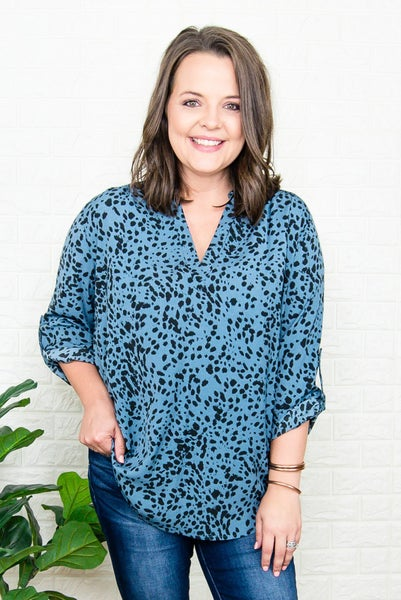 Teal Spotty Blouse