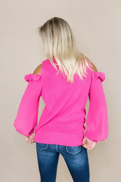 Shoulder Peek Ruffle Sweater