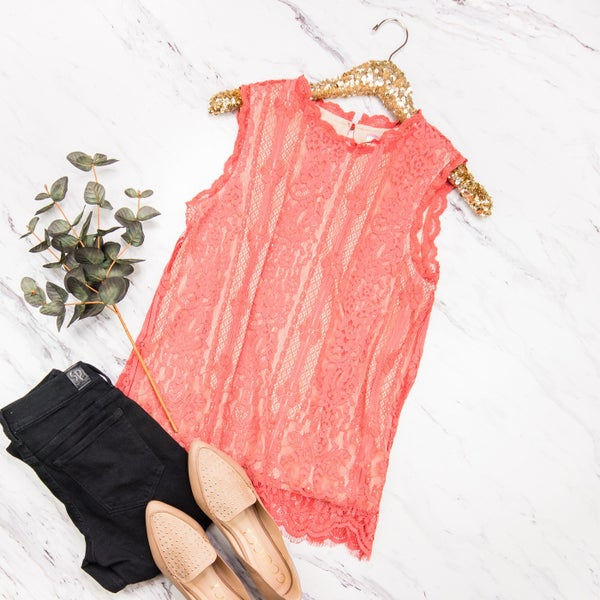 Coral Lace Blouse