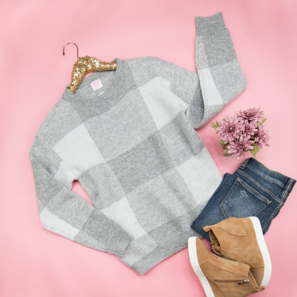 All About Gingham Sweater *all sales final*