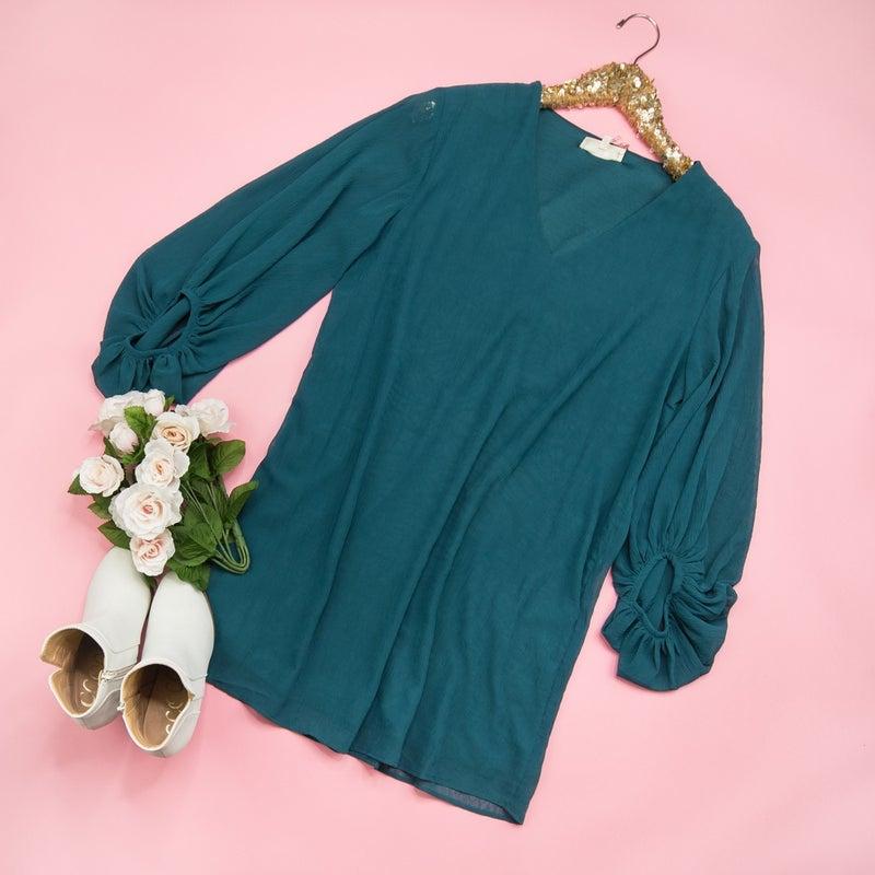 Effortless Emerald Dress  *ALL SALES FINAL*