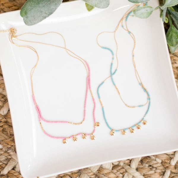 Layer Beaded Charm Necklace