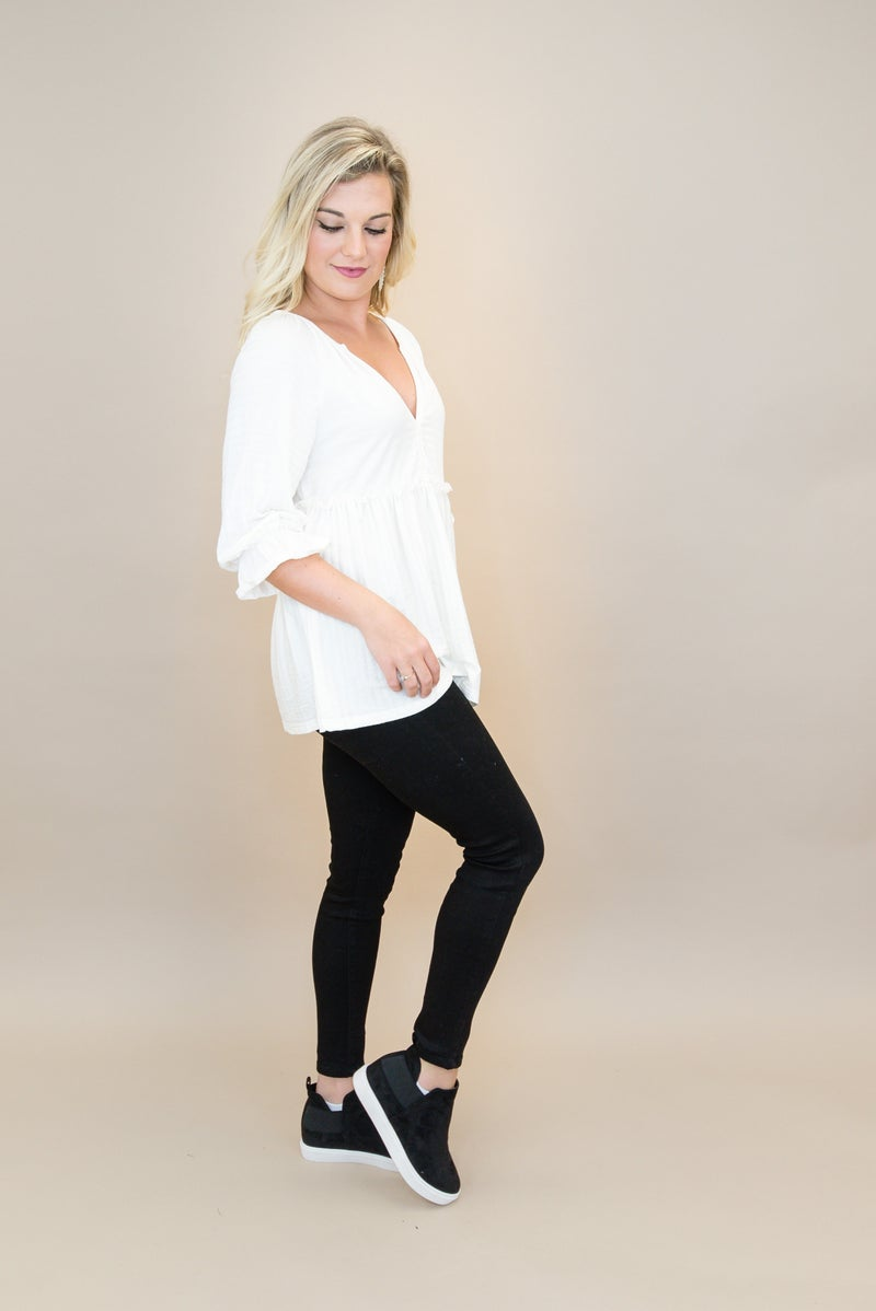 Ivory Babydoll Blouse *all sales final*