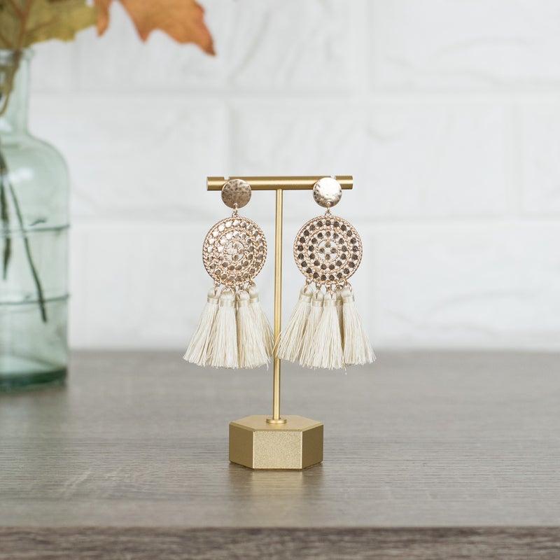 Cream Tassel Earrings