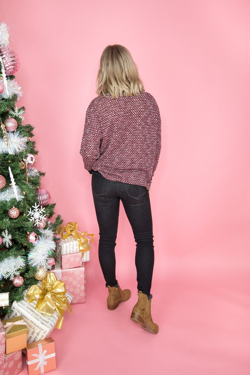 Flaunt Friday // Heathered Burgundy Top  *all sales final*