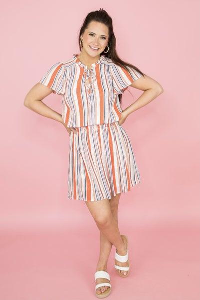 Having Fun Orange Striped Dress