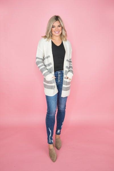 Cream & Gray Stripes Cardigan