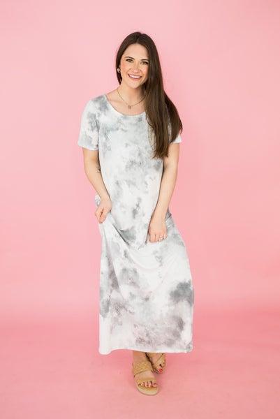Silver Gray Midi Dress