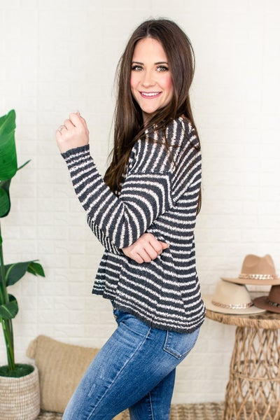Lightweight Charcoal Striped Sweater