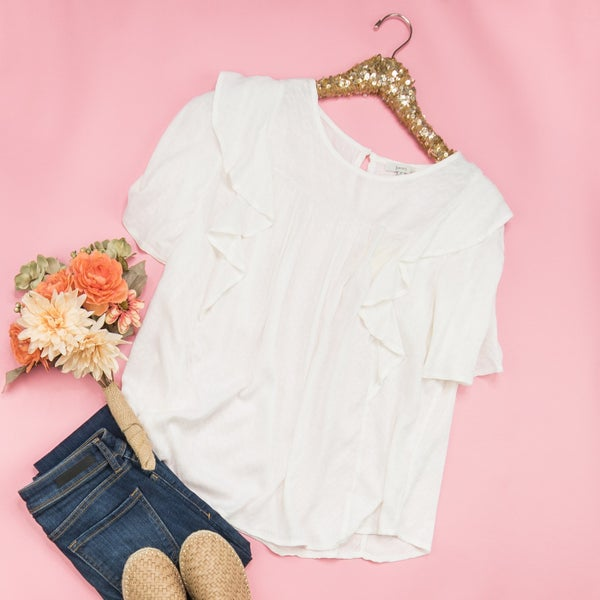 White Ruffle Blouse *ALL SALES FINAL*