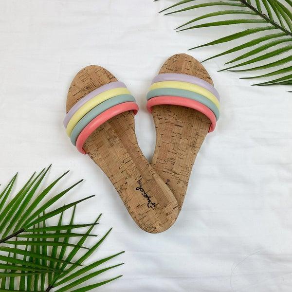 Multi Colored Banded Sandal