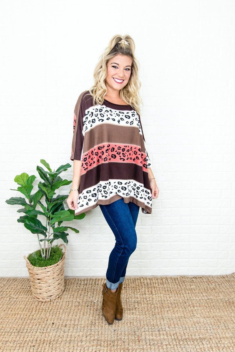 Leopard Block Poncho Tee
