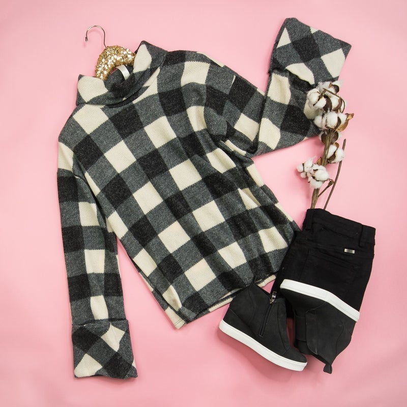Buffalo Plaid Cowl Neck Top *ALL SALES FINAL*