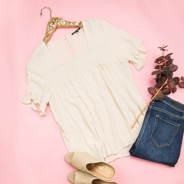 Casual Beige Top *ALL SALES FINAL*