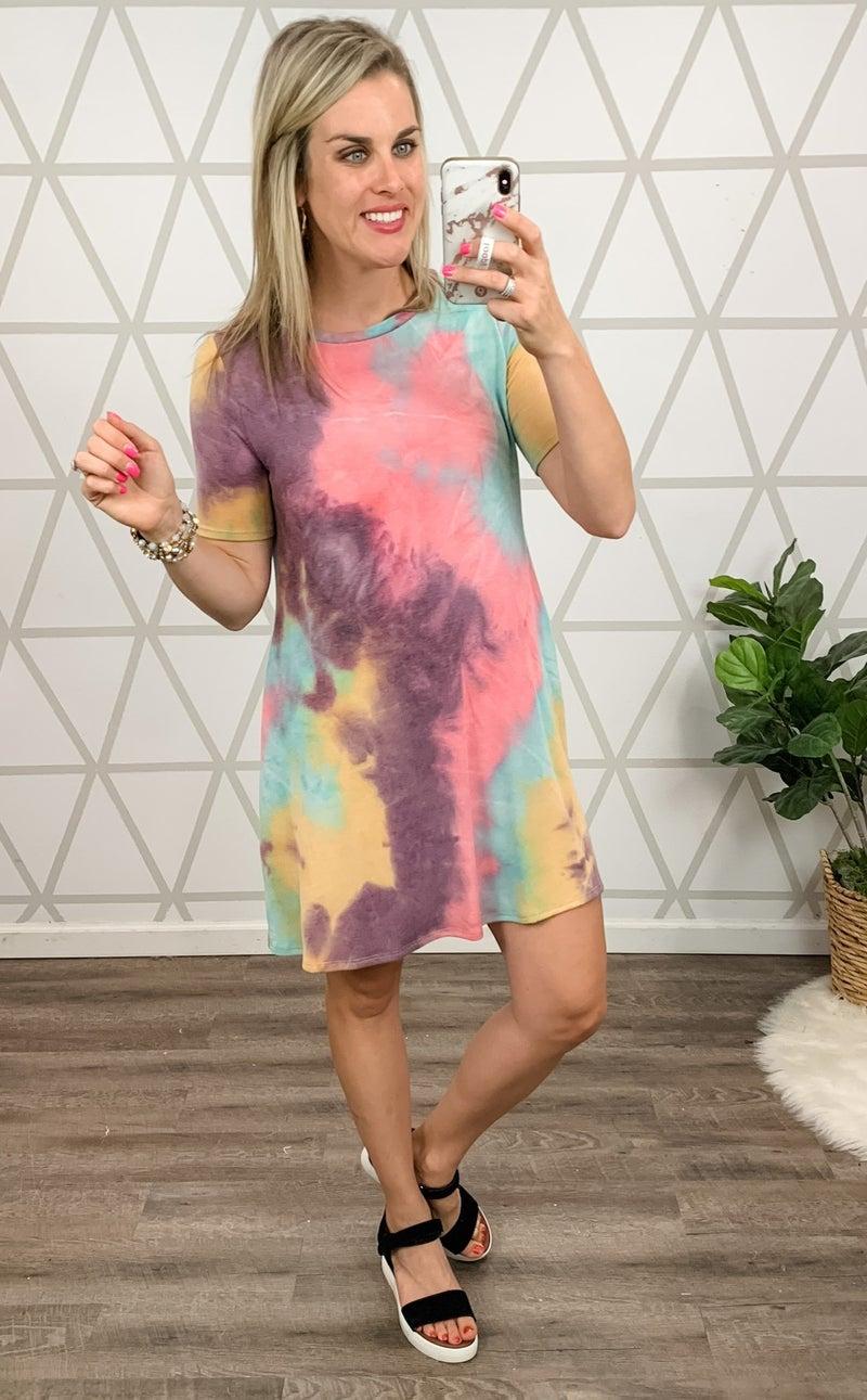 Here to Stay Tie Dye Dress