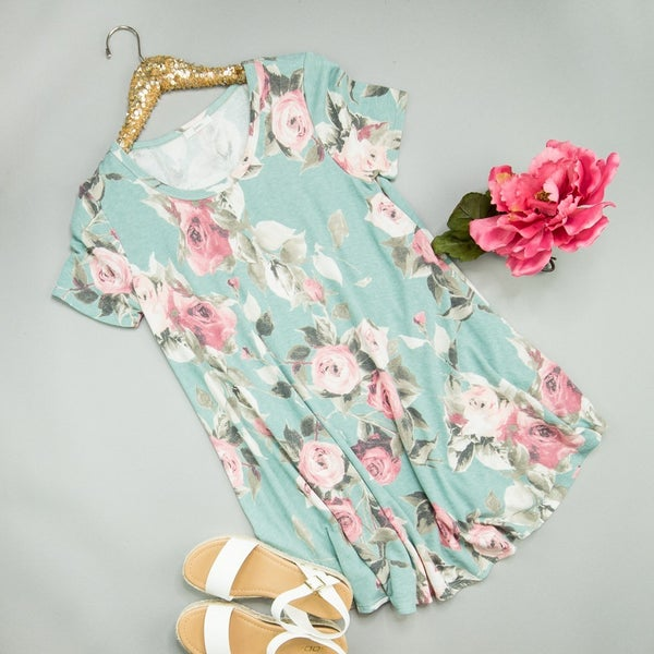 Dusty Mint Rose Dress