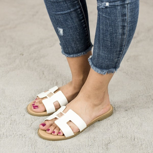 Drop Of Gold White Sandal  *ALL SALES FINAL*