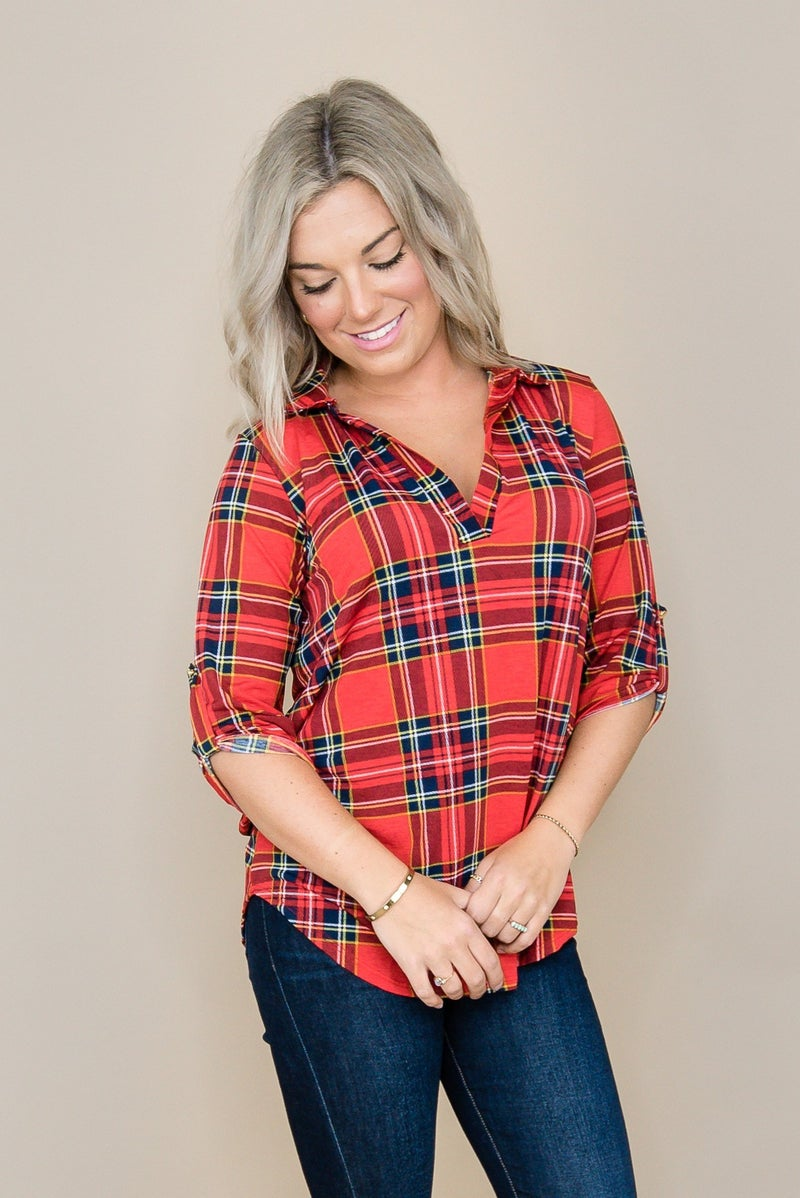 Blue & Red Plaid Top