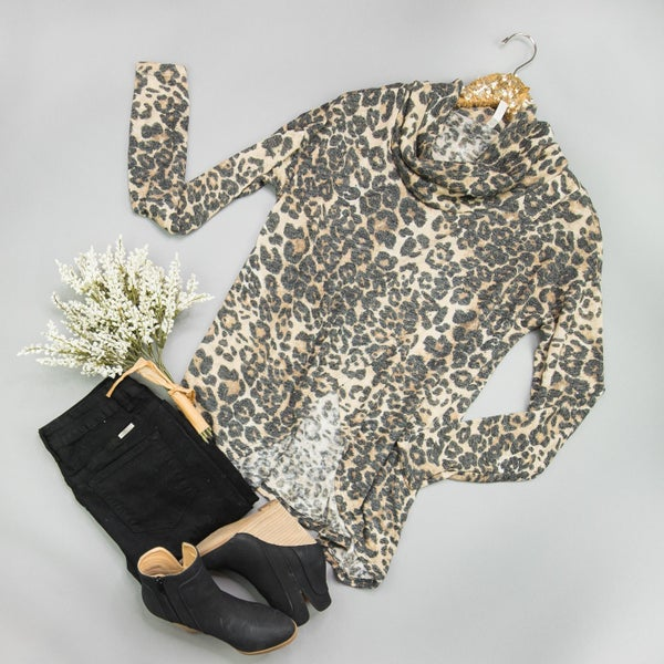 Leopard Cowl Neck Top *ALL SALES FINAL*